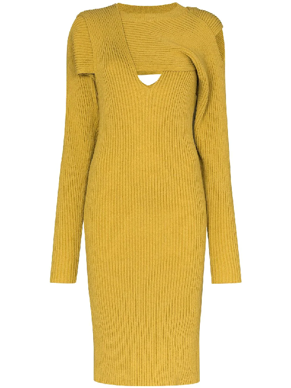 Bottega Veneta Knit Cotton Blend Sweater Dress In Yellow