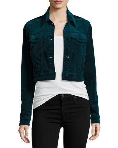 J Brand Bg Exclusive Faye Shrunken Velvet Jacket In Emerald