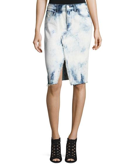 J Brand Trystan Bleached Denim Midi Skirt With Raw Hem, Elation In Blue