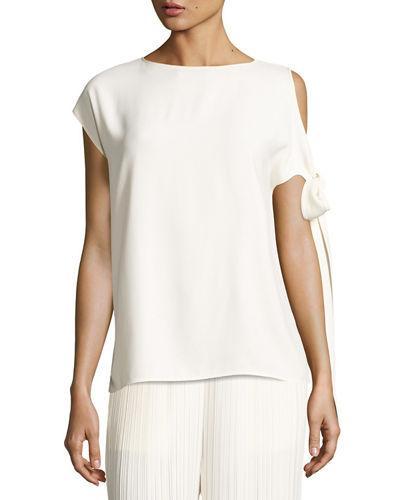 Helmut Lang Short-Sleeve Crepe Tie-Shoulder Top, Ivory