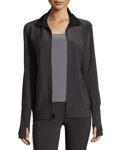 Norma Kamali Bonded Jersey Zip-Front Turtle Jacket, Dark Navy In Gray