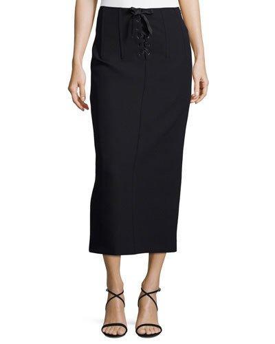 Joseph Jasper Lace-Up Scuba Pencil Midi Skirt In Black