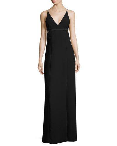 T By Alexander Wang Sleeveless Open-Back Crepe Bralette Dress, Black