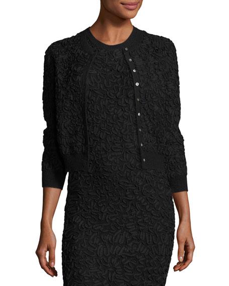 Michael Kors Soutache Embroidered 3/4-Sleeve Cardigan, Black