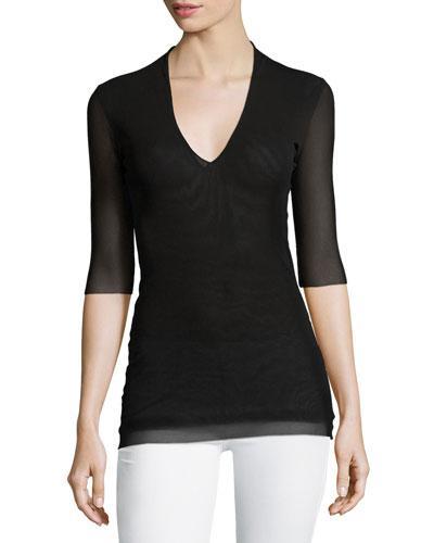 Fuzzi 3/4-Sleeve V-Neck Tulle Top In Black