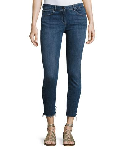 3X1 W2 Mid-Rise Skinny Cropped Frayed Jeans In Dark Blue