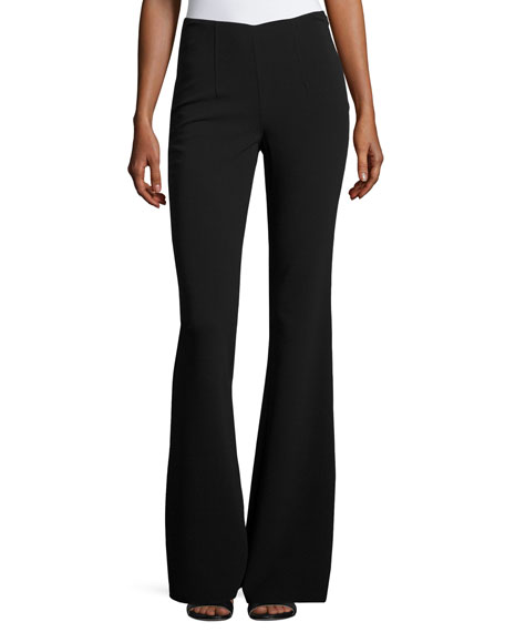 Michael Kors Wool-Blend Flared-Leg Trousers, Black