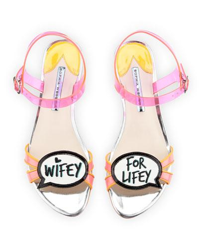 Sophia Webster Ellen Wifey For Lifey Speech Bubble Sandal, Pink/Orange