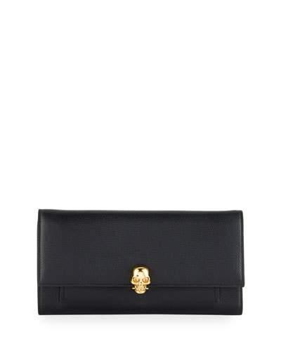 Alexander Mcqueen Skull Leather Wallet-On-Chain, Black