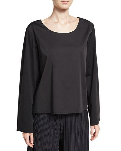 The Row Angelina Scoop-Neck Cotton Top In Black