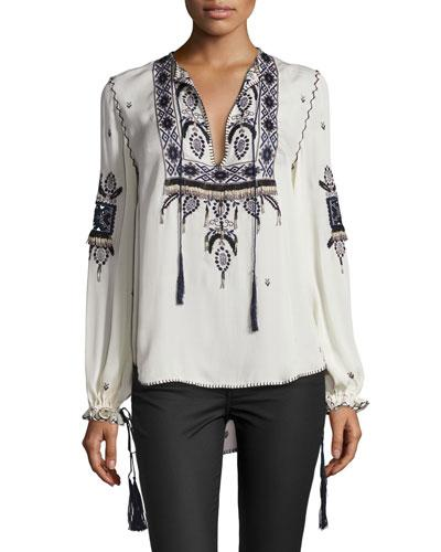 Haute Hippie Talitha Embroidered Silk Blouse, Moonstone In Moon Stone