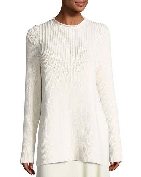 The Row Selina Ribbed Crewneck Sweater, Neutral