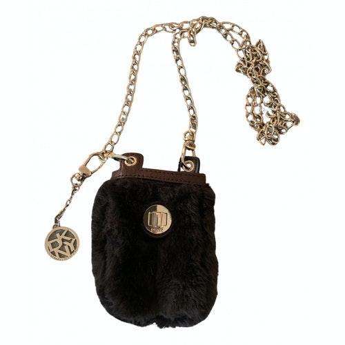 Pre-owned Dkny Brown Faux Fur Handbag