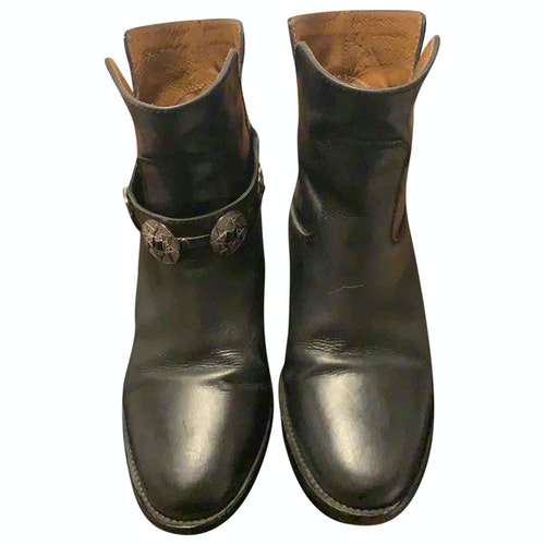 Pre-owned Via Roma Xv Black Leather Ankle Boots
