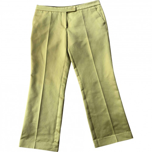 Pre-owned Etro Yellow Cotton Trousers