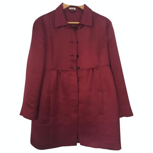 Pre-owned Miu Miu Burgundy Silk Coat