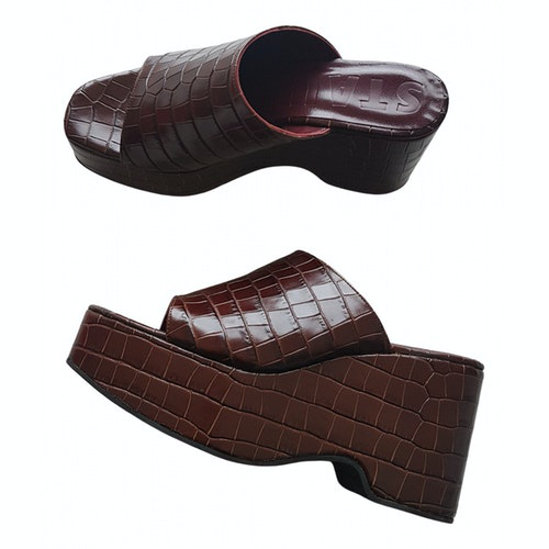 Pre-owned Staud Brown Leather Sandals