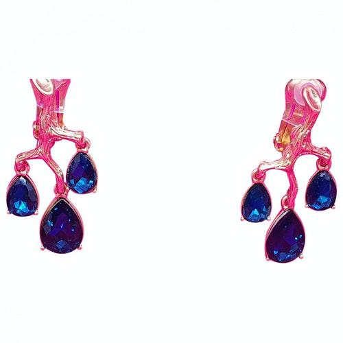 Pre-owned Oscar De La Renta Blue Metal Earrings