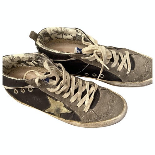 Pre-owned Golden Goose Mid Star Black Leather Trainers