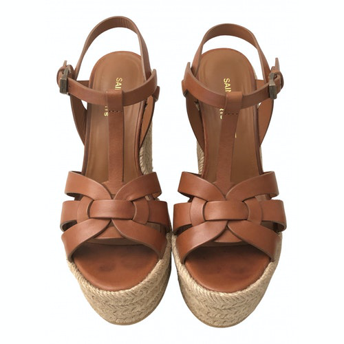 Pre-owned Saint Laurent Tribute Brown Leather Sandals