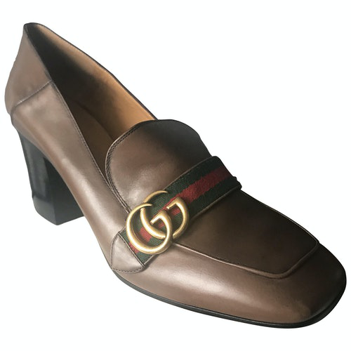 Pre-owned Gucci Peyton Brown Leather Heels