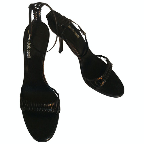 Pre-owned Roberto Cavalli Black Leather Sandals