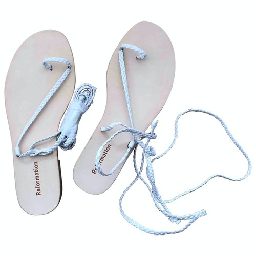Pre-owned Reformation White Leather Sandals