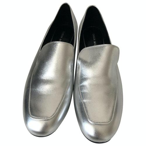 Pre-owned Karen Millen Silver Glitter Flats