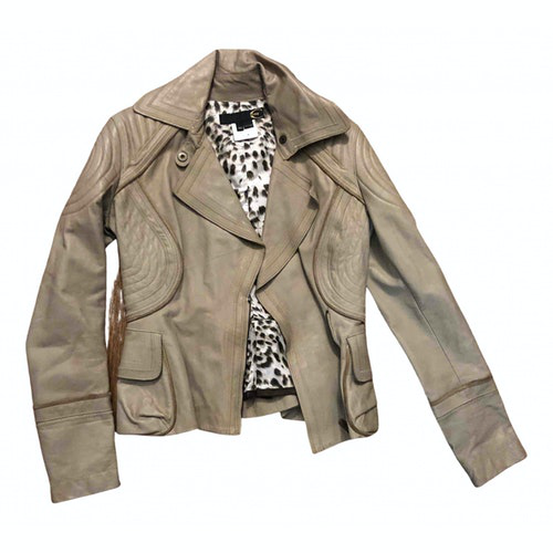 Pre-owned Just Cavalli Beige Leather Jacket