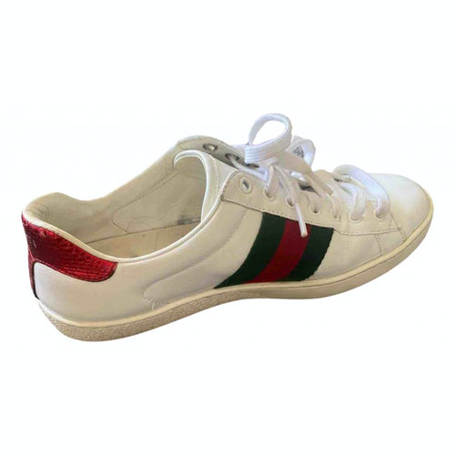 Pre-owned Gucci Ace White Leather Trainers