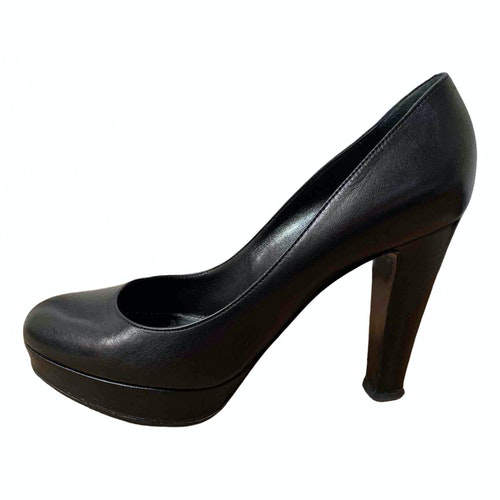 Pre-owned Sergio Rossi Black Leather Heels