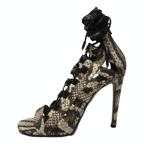 Pre-owned Aquazzura Beige Water Snake Sandals