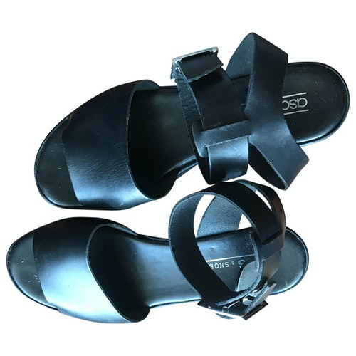 Pre-owned Asos Design Black Leather Sandals