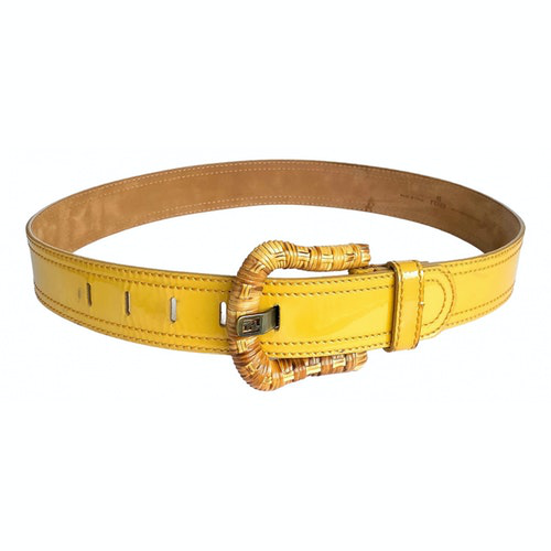 Pre-owned Fendi Yellow Patent Leather Belt