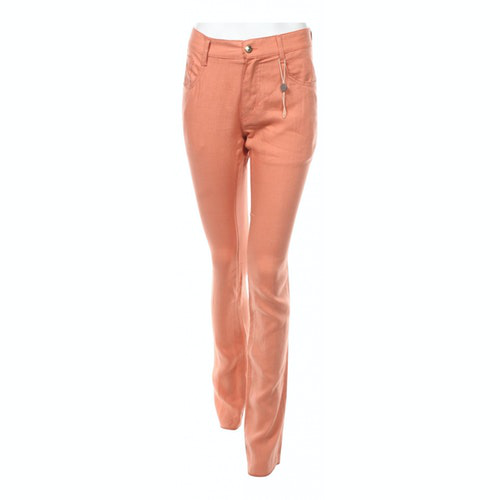 Pre-owned Just Cavalli Orange Linen Trousers