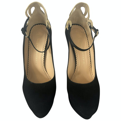 Pre-owned Charlotte Olympia Dolly Black Suede Heels
