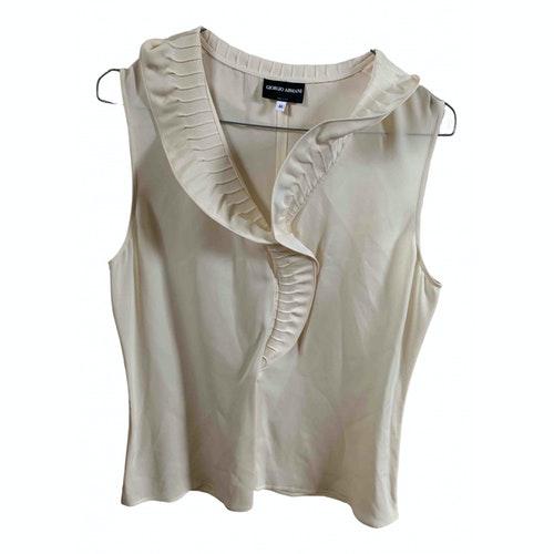 Pre-owned Giorgio Armani Ecru Silk  Top