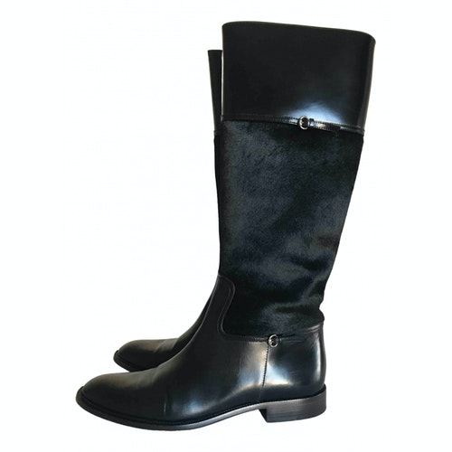 Pre-owned Gucci Black Leather Boots