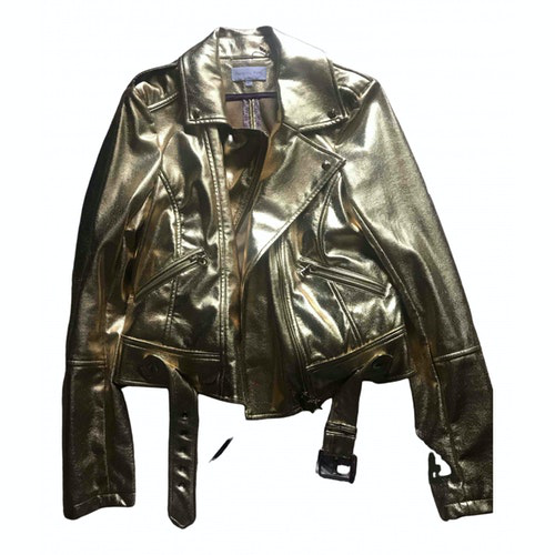 Pre-owned Patrizia Pepe Gold Faux Fur Leather Jacket
