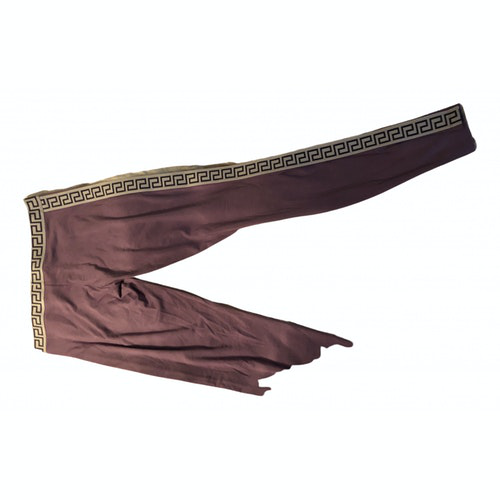 Pre-owned Versace Purple Cotton Trousers