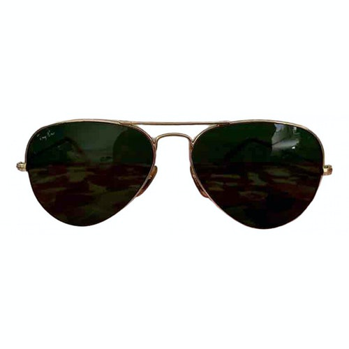 Pre-owned Ray Ban Aviator Gold Metal Sunglasses