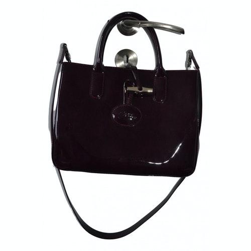 Pre-owned Longchamp Roseau Purple Patent Leather Handbag