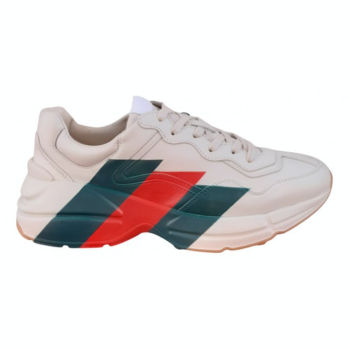 Pre-owned Gucci Rhyton White Leather Trainers