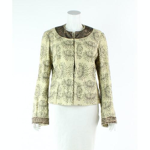 Pre-owned Tory Burch Ecru Linen Jacket
