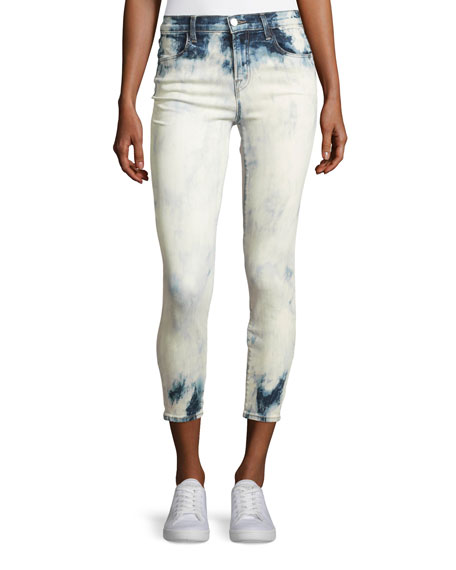 J Brand Alana Bleached High-Rise Skinny Ankle Jeans, Trance In Blue/White