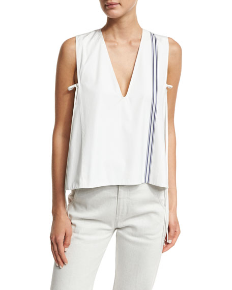 Derek Lam Striped Sleeveless V-Neck Blouse, Multi