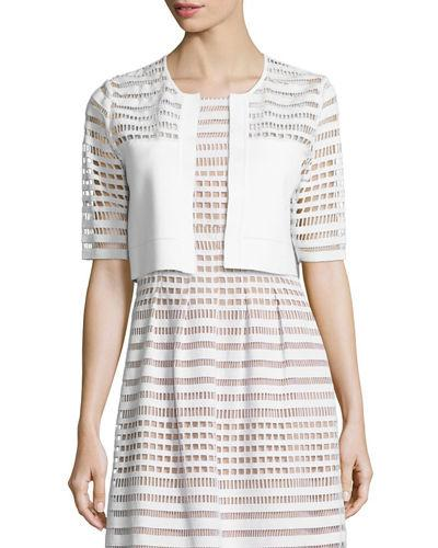 Lela Rose Half-Sleeve Windowpane Lace Bolero In White