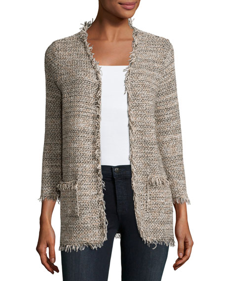 Joie Philisa Tweed Fringe-Trim Open-Front Jacket, Gray