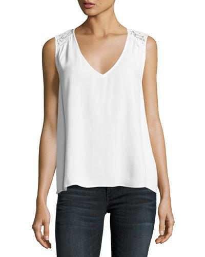 Joie Pearl Sleeveless Lace-Trim Crepe Top, White