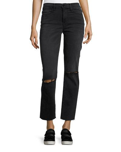 Frame Le High Straight Raw Edge Jeans, Molony In Black